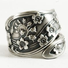 Forget Me Not Floral Sterling Silver Ring Handmade and by Spoonier