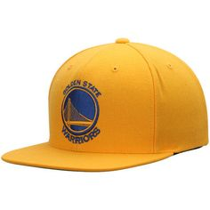 11a80d2df76 Men s Golden State Warriors Mitchell   Ness Gold Current Logo Wool Solid Snapback  Adjustable Hat