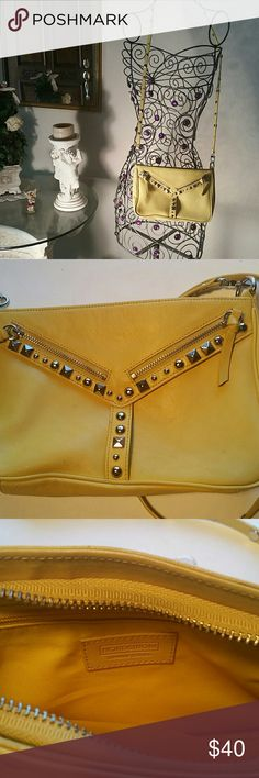 """NORDSTROM yellow leather crossbody handbag Gently used lemony yellow crossbody handbag with a 43"""" strap. Great with jeans or a dress! There are several light marks (see photo 2) Nordstrom  Bags Crossbody Bags"""