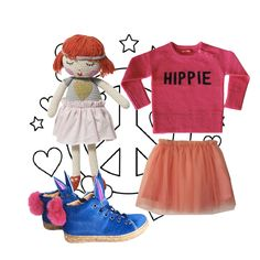 Girls Look !!! Sweater by Zadig & Voltaire - Skirt by LittleElevenParis - Shoes by Ocra and Doll by LaDeDah Australia