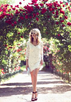 White Little Lace Dress Romantic Style