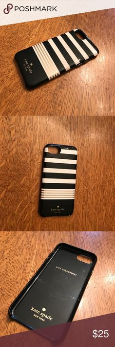 Kate Spade iPhone 7 case. Kate Spade - iPhone 7 case - black/white/gold - used but good condition (slightly scratched from use but only seen in certain lighting). kate spade Accessories Phone Cases