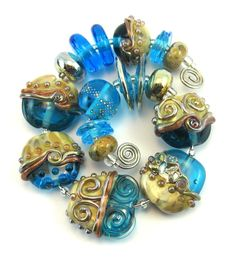 Sand and Surf Lampwork Bead Set.