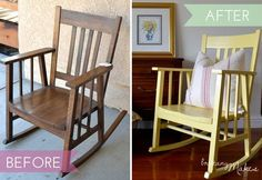 Before and After with my new (old) rocking chair!  Thanks @BrittanyMakes!