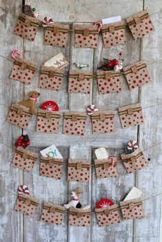 An easy tutorial for creating a no-sew Advent Calendar from burlap ribbon. Also includes ideas on how to make an Advent Calendar work for teens. All Things Christmas, Christmas And New Year, Christmas Holidays, Christmas Decorations, Christmas Ornaments, Xmas, Burlap Decorations, Christmas Tables, Burlap Christmas