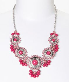 Another great find on #zulily! Silver & Pink Flamingo Flair Bib Necklace by C.O. International #zulilyfinds