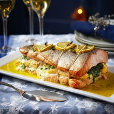 Our two fish roast is a show stopping centrepiece that is so easy yet so impressive. The smoked haddock filling adds a moreish smoky flavour.