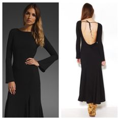 """Zenith Maxi Dress For Love and Lemons black crepe maxi dress featuring bell sleeves, and a deep scoop back with detail beaded self tie at neck line. Measures approx 54"""" from shoulder to hem. 51% acetate, 49% raylon, lining 100% polyester. Model is pictured wearing size xs. For Love and Lemons Dresses Maxi"""