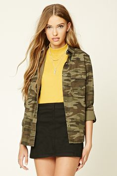 Camo Button-Down Jacket