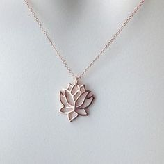 Rose gold lotus necklace lotus flower yoga by WendyShrayDesigns