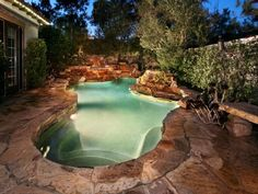 In this unusual creation from Urban Landscape a plunge pool assumes the look of a natural stone quarry or grotto. Outdoor Spaces, Outdoor Living, Outdoor Ideas, Pool Picture, Small Backyard Pools, Dream Pools, Plunge Pool, Cool Pools, Awesome Pools