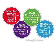 Allergy warning vinyl waterproof labels