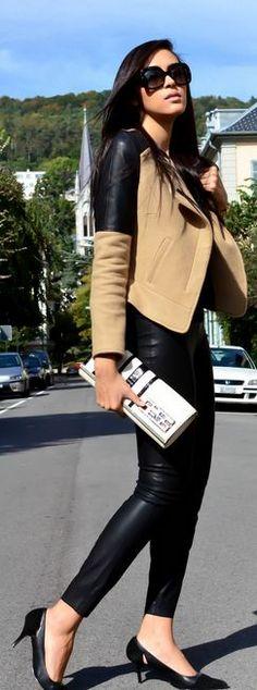 Chaqueta con legging efecto cuero Zara