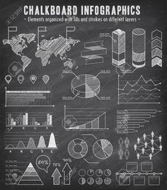 A comprehensive Template set for infographics with a sketchy Chalkboard Effect. - Bar charts - Graphs - Pie Charts - Detailed World Map Vector file is EPS and is organized with layers. Map Vector, Vector File, Charts And Graphs, Pie Charts, Detailed World Map, Chalkboard, Bar Chart, City Photo, How To Draw Hands