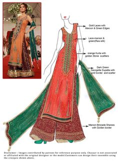 DIY Orange Georgette Sharara Suit
