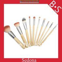 Eco -Friendly 10 piezas pincel de maquillaje 2 tonos de bambú pelo sintético establecer el color natural de bambú kit de cepillo cosmético para compensar