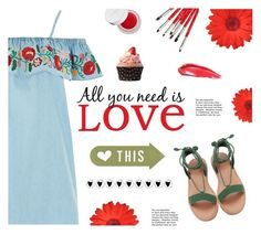 """""""All you need is LOVE"""" by buflie ❤ liked on Polyvore featuring Topshop, Brewster Home Fashions, rms beauty and Estée Lauder"""
