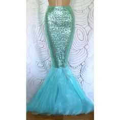 High Waist Sequin Sexy Mermaid Tail Skirt Costume- Aqua Blue ❤ liked on Polyvore featuring costumes, sexy lady costumes, mermaid costume, sexy womens costumes, sequin costume and ladies costumes
