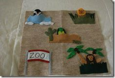 A zoo quiet book page with finger puppets! I love it!