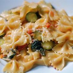 Pasta Primavera with Italian Turkey Sausage Allrecipes.com- I used chicken with lemon pepper seasoning and used 3 small zucchini and a crookneck instead. It came out great! Red pepper gave it a good kick. Casey wants me to put this one in my file.