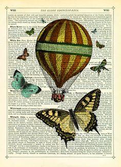 Hot Air Balloon with Butterflies - Vintage Encyclopaedia Print £9.50