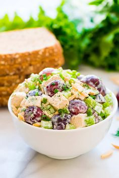 Healthy Greek Yogurt Chicken Salad with Grapes, Celery, and Fresh Dill. Perfect for sandwiches and salads. If following the 21 day fix diet, just omit the honey. DELICIOUS! Recipe at wellplated.com | @wellplated