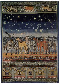 Gobelin tapestry Staffan Stalledräng Märta Måås - Fjetterström (1873 - 1941) Asta (Augusta) Stenström Signe Ahlgren Malmöhus läns hemslöjd Wool on linnen ca 280 x 214 cm Malmö,  1909 RKM 52-1910
