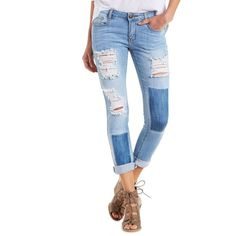 Charlotte Russe Light Wash Denim Machine Jeans Destroyed Cuffed Jeans... (30 JOD) ❤ liked on Polyvore featuring jeans and light wash denim