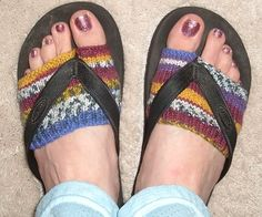 Socks for Flip-Flops, there is a link for knitting pattern.  Looking for crochet pattern!