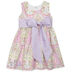Girls Pink Floral Lavender Dot Sash Ava Dress – Lolly Wolly Doodle