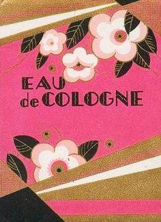 Eau de Cologne Art Deco Floral Label