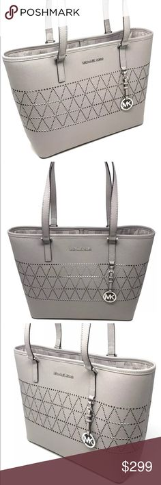 """NWT Michael Kors Jet Set Travel Leather Tote • Material: Saffiano leather  • Color: Lining  • Black lining  • Multi-function inside pockets; back outer slide pocket  • Silver tone hardware  • Tote measures 15.5"""" (L) x 10.5"""" (H) x 6"""" (W)  • Double handles with 10"""" drop  • Imported Michael Kors Bags Totes"""