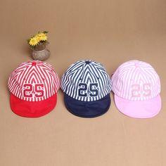 b470babe98acd Más nuevo del cabrito Unisex sombreros muchacha del muchacho del algodón  raya moda verano Casual casquillos