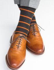 Charcoal with Burnt Orange Stripe Fine Merino Wool Sock Linked Toe Mid-Calf Sock Shoes, Men's Shoes, Dress Shoes, Keep Shoes, Me Too Shoes, Orange Socks, Orange Accessories, Allen Edmonds Shoes, Gentleman Shoes