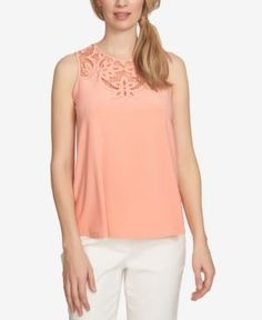 CeCe Floral-Cutout Sleeveless Blouse - Pink XL