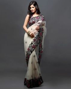Really love the color combination and sheer-look of the sari