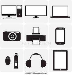 Stock Illustration of TV,computer, camera, laptop, notebook & other electronic gadgets k14648716 - Search Clip Art, Drawings, Fine Art Print...