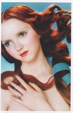 """Lily Cole recreates """"The Birth of Venus"""" in a diamond ad"""