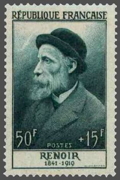 France : : 50f + 15f (semipostal/charity stamp), issued in 1955 : : featuring French artist, Pierre-Auguste Renoir