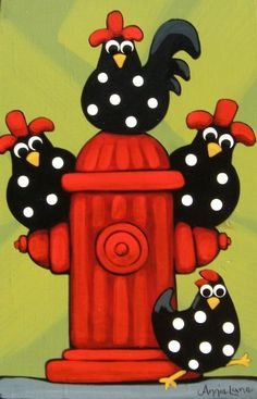 """ DOWN ON THE CORNER "" Whimsical Roosters Painting by Annie Lane Folk Art"
