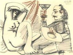 1968 Mousquetaire à la coupe et nu couché -Picasso