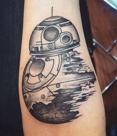 BB8 - Death Star fusion tattoo! Amazing piece  #starwars #starwarstattoo #bb8 #deathstar #tattoo #forearmtattoo