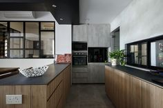 Open-concept kitchen that allows the user to interact with other family members or guests.