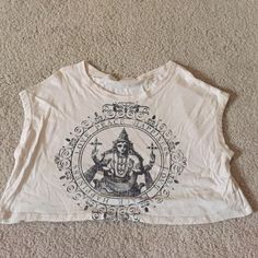 Crop top from ANGL Peace, love, happiness Buddhism inspired crop top from ANGL. Worn once :) great for spring and summer ANGL Tops Crop Tops