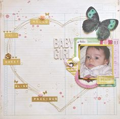 Baby girl - Scrapbook.com- a stitched background and layered photo detail may be all you need to make an adorable layout!