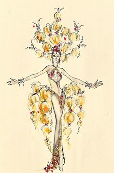 Bob Mackie/Ray Aghayan Costume design Las Vegas, 1974 by UNLV Libraries Digital Collections, via Flickr Bob Mackie, Fashion Illustration Sketches, Fashion Sketches, Love Drawings, Drawing Sketches, Cabaret, Harry Potter Fiesta, Showgirl Costume, Vegas Showgirl