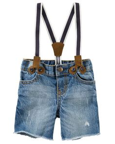 Baby Boy Suspender Denim Shorts - Sun Faded Medium from OshKosh B'gosh. Shop clothing & accessories from a trusted name in kids, toddlers, and baby clothes.