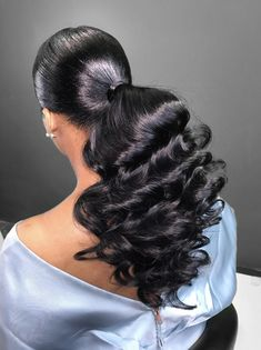 Long Ponytail Hairstyles, Hair Ponytail Styles, Slick Hairstyles, Sleek Ponytail, Baddie Hairstyles, Pretty Hairstyles, Curly Hair Styles, Natural Hair Styles, Hair Laid