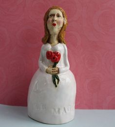 ceramics and pottery Girl Bell ring ading ding by TooBusyMakingArt, $150.00