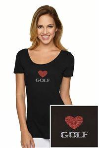 """Women's """"Heart Golf"""" Bling Golf T-Shirt."""